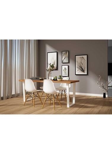 Woodesk Hayal Masif Tik Renk 200x70 Sandalyeli Masa Takımı CPT7326-200 Beyaz